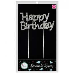 View the HAPPY BIRTHDAY diamante cake topper decoration pick online at Cake Stuff