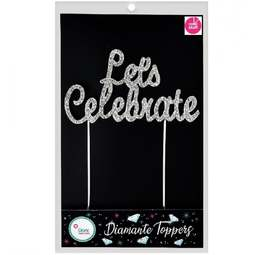 View the LET'S CELEBRATE diamante cake topper decoration pick online at Cake Stuff