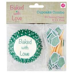 View the GREEN & WHITE POLKA DOT cupcake combo - 24 cases & 24 pics online at Cake Stuff