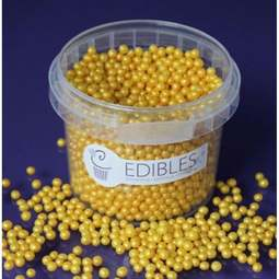 View the GOLD RUSH 4mm Shimmer Pearls sugar pearl sprinkles 80g online at Cake Stuff