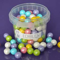 View the RAINBOW COLOURS 10mm Shimmer Pearls sugar pearl sprinkles 80g online at Cake Stuff