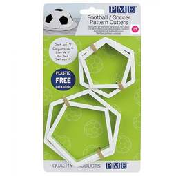 View the 4 pc Football / Soccer pattern icing cutter set online at Cake Stuff