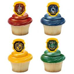 View the Harry Potter Hogwarts Houses rings cake topper decorations - pk 144 online at Cake Stuff