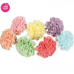 View the pk 35 Pastel Pom Poms / Carnations edible cake cupcake decorations online at Cake Stuff