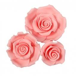 View the pk 12 assorted LIGHT PINK ROSES edible cake flower decorations online at Cake Stuff