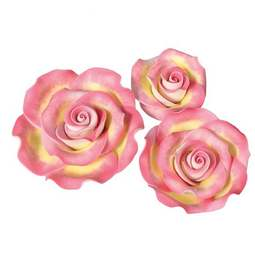 View the pk 12 assorted MARBLED PINK & GOLD ROSES edible cake flower decorations online at Cake Stuff