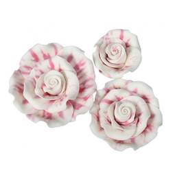 View the pk 12 assorted RASPBERRY RIPPLE ROSES edible cake flower decorations online at Cake Stuff