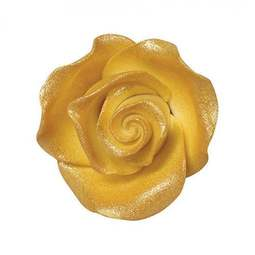 View the pk 20 x 38mm LUSTRE GOLD ROSE edible cake flower decorations online at Cake Stuff