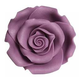 View the pk 8 x 63mm VIOLET ROSE edible cake flower decorations online at Cake Stuff