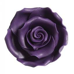 View the pk 10 x 50mm PURPLE ROSE edible cake flower decorations online at Cake Stuff