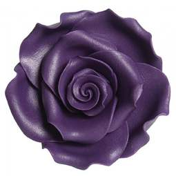 View the pk 8 x 63mm PURPLE ROSE edible cake flower decorations online at Cake Stuff