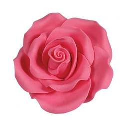 View the pk 10 x 50mm BRIGHT PINK ROSE edible cake flower decorations online at Cake Stuff
