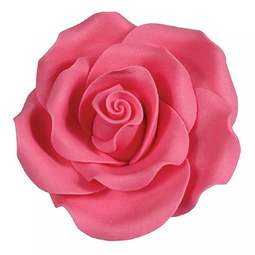 View the pk 8 x 63mm BRIGHT PINK ROSE edible cake flower decorations online at Cake Stuff