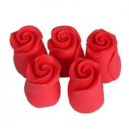 View the pk 38 small 13mm STRAWBERRY ROSE edible cake flower decorations online at Cake Stuff