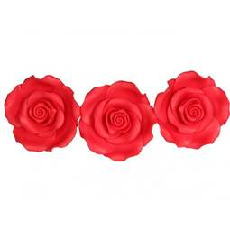 View the pk 8 x 63mm STRAWBERRY ROSE edible cake flower decorations online at Cake Stuff