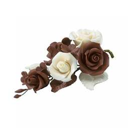 View the CHOCOLATE BROWN sugar flower rose spray decoration online at Cake Stuff