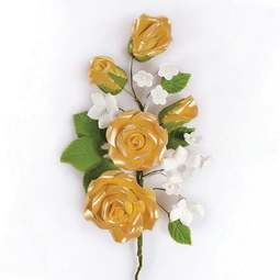 View the GOLD sugar flower rose spray decoration online at Cake Stuff