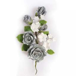 View the SILVER sugar flower rose spray decoration online at Cake Stuff
