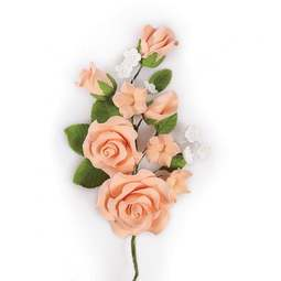 View the PEACH sugar flower rose spray decoration online at Cake Stuff