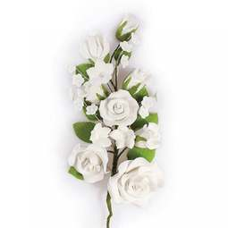 View the LARGE WHITE sugar flower rose spray decoration online at Cake Stuff