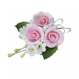 View the PINK sugar flower trio rose spray decoration online at Cake Stuff