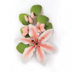 View the RUBRUM LILY pink sugar flower spray decoration online at Cake Stuff