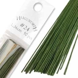 View the 24 gauge DARK GREEN sugarcraft floristry wire - pk 50 online at Cake Stuff