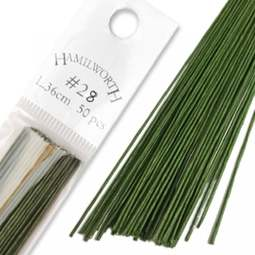 View the 28 gauge DARK GREEN sugarcraft floristry wire - pk 50 online at Cake Stuff