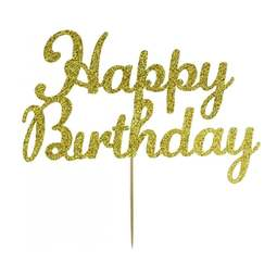 View the Gold HAPPY BIRTHDAY glitter card cake topper pick decoration online at Cake Stuff