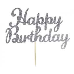 View the Silver HAPPY BIRTHDAY glitter card cake topper pick decoration online at Cake Stuff