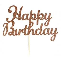 View the Rose Gold HAPPY BIRTHDAY glitter card cake topper pick decoration online at Cake Stuff