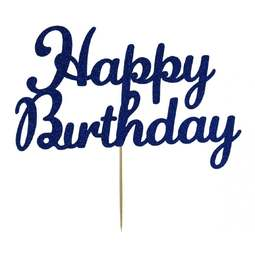 View the Navy Blue HAPPY BIRTHDAY glitter card cake topper pick decoration online at Cake Stuff