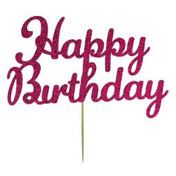 View the Deep Pink HAPPY BIRTHDAY glitter card cake topper pick decoration online at Cake Stuff