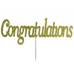 View the Gold CONGRATULATIONS glitter card cake topper pick decoration online at Cake Stuff
