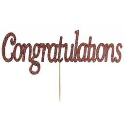 View the Rose Gold CONGRATULATIONS glitter card cake topper pick decoration online at Cake Stuff