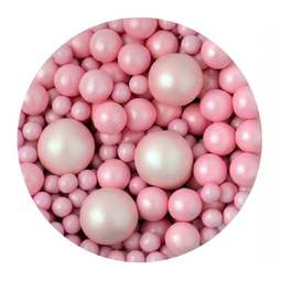 View the GLIMMER BABY PINK BUBBLES chocolate balls cake sprinkles 100g online at Cake Stuff