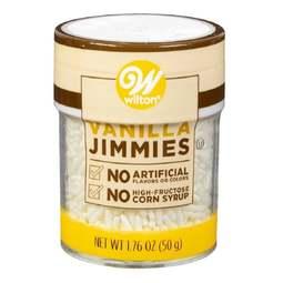 View the WHITE VANILLA JIMMIES edible sugar cake sprinkles 50g online at Cake Stuff