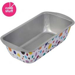 View the 2lb Bake And Bring geometric print non-stick loaf tin baking pan online at Cake Stuff