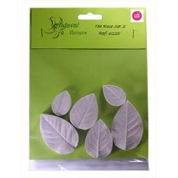 View the 6 pc TEA ROSE S leaf real flower silicone veiner set 6125 online at Cake Stuff