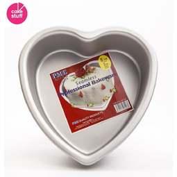 "View the 8"" / 20cm professional heart aluminium cake tin pan - 3"" deep online at Cake Stuff"