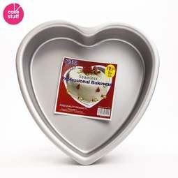 "View the 10"" / 25.5cm professional heart aluminium cake tin pan - 3"" deep online at Cake Stuff"