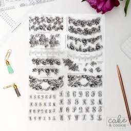 View the LACE & MONOGRAM stamps - cake sketching stamp collection set online at Cake Stuff