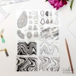 View the GEODES, MINERALS & MARBLE stamps - cake sketching stamp collection set online at Cake Stuff