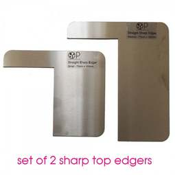 View the pk 2 Sharp Top Edger stainless steel icing scraper tools - OPSTESM online at Cake Stuff