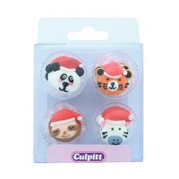 View the pk 12 WILD ANIMAL CHRISTMAS edible icing pipings cake cupcake decorations online at Cake Stuff