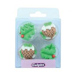 View the pk 12 HOLLY & CHRISTMAS PUDDINGS edible icing pipings cake cupcake decorations online at Cake Stuff