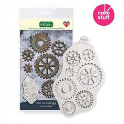 View the DISTRESSED COGS silicone icing mould online at Cake Stuff