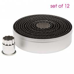 View the Fluted ROUND / CIRCLES 12 piece stainless steel icing cutter set online at Cake Stuff