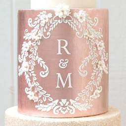 View the Alexandria Lace Mix and Match Monogram cake stencil TALL set #9DB by Suzanne Esper online at Cake Stuff