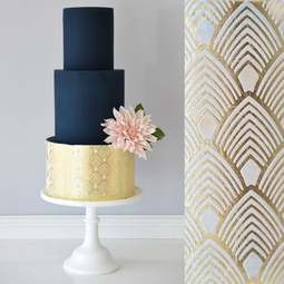 View the Art Deco Feathers Double Barrel professional cake stencil #29DB by Suzanne Esper online at Cake Stuff